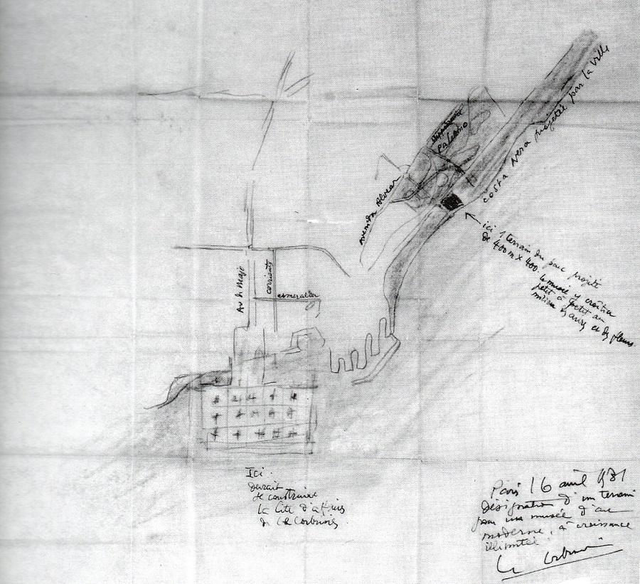 Le Corbusier, Museo de crecimiento ilimitado Buenos Aires, croquis de ubicación