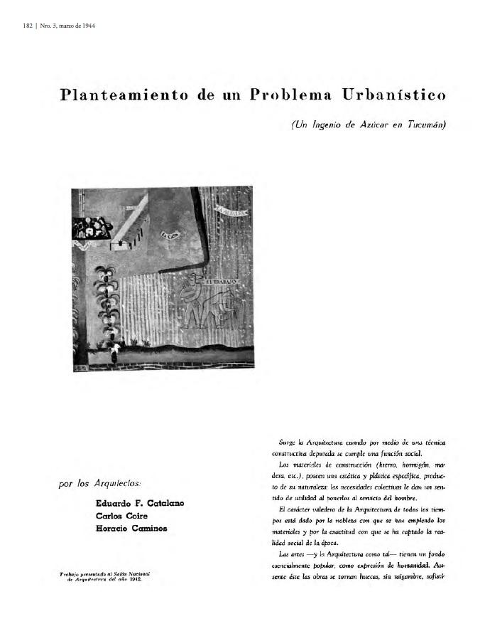 Planteamiento de un problema urbanistico, Tecné 3, 1944