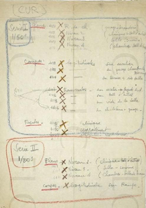 Casa Curutchet, lista de planos